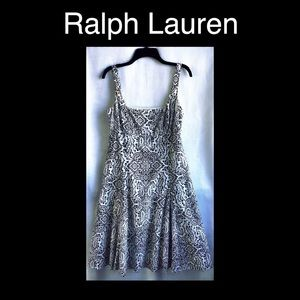 RALPH LAUREN Black & White Size 10 Dress